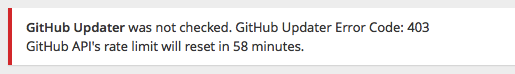 GitHub Updater error message